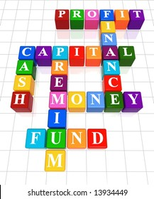 3d colour boxes crossword - money, finance, capital, cash, profit, fund, premium