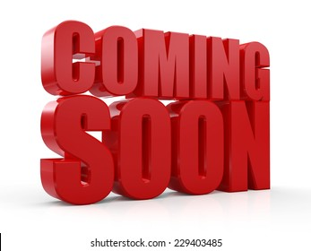 3D Coming Soon red text on white background