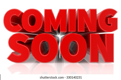 3D COMING SOON word on white background 3d rendering