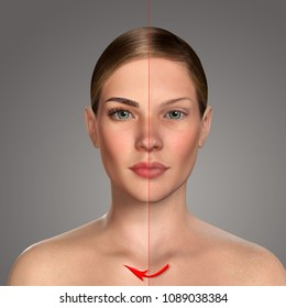 3d comparative portrait of women with and without makeup