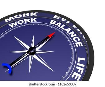 3d compass concept work life balance .3d rendered illustration