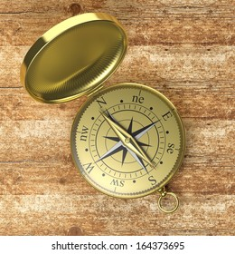 3D compass on wooden background