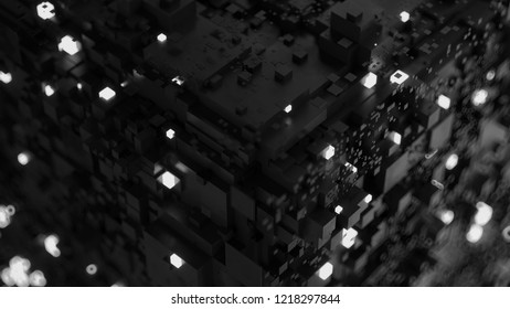 3d complex technology render background. Multi layered segmented geometry with glow elements. Rendered with depth of field effect.