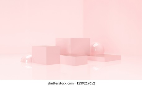 3d composition. Abstact 3d geometric shapes backdrop. 3d pink background.