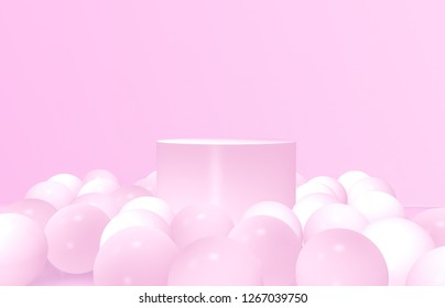 3d composition. Abstact 3d geometric shapes backdrop. 3d pink background with balloons.