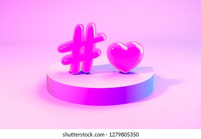 3d composition. Abstact 3d geometric shapes backdrop with text - love hashtag. 3d pink background with balloons.