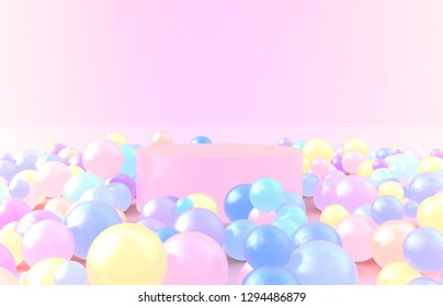 3d composition. Abstact 3d geometric shapes backdrop. Pink cylinder podium with colorful balloons on pink background.