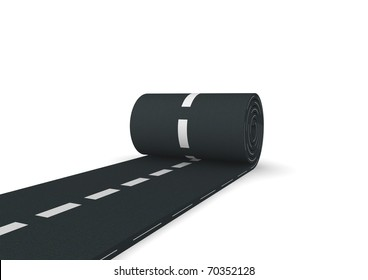 3d computer genrated image of a carpet of asphalt unrolled on white background