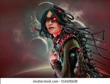 3D computer graphics of a cyborg woman with clothing and headdress in science fiction style