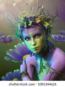 3d computer graphics of a fairy with a wreath of leaves and branche  on her head