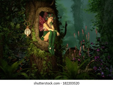 3D computer graphics of a fairy with a wreath on her head, sitting in a knothole of a tree