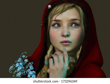 3D computer graphics of a girl with a red hood and a bouquet of forget me not