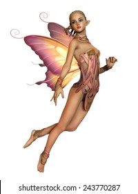 3d computer graphics of a hovering fairy with braided blond hair and butterfly wings