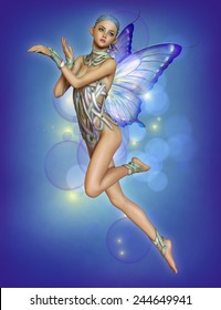 3d computer graphics of a hovering fairy with braided blue hair and butterfly wings