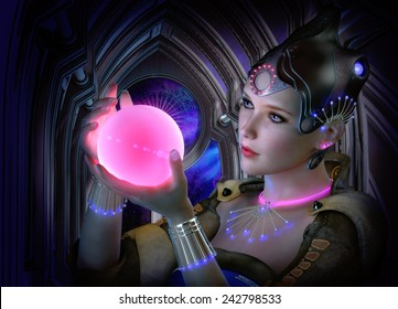 3D computer graphics of a portrait of a woman with clothing and jewelry in science fiction style and a glowing ball in her hand