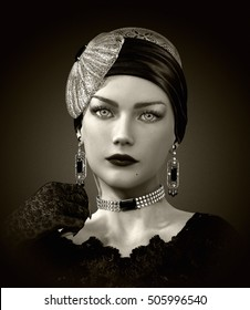 3d computer graphics of a  portrait of a young lady with elegant head cover and jewelry in retro style