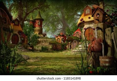 3d computer graphics of a village with elves cottages
