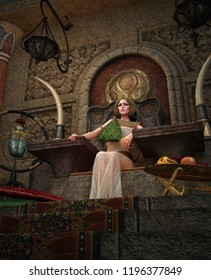 3D computer graphics of a young woman with ancient Egyptian makeup and clothing, sitting on a throne