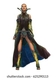 3d computer graphics of a young woman in a fantasy dress