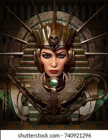 3D computer graphics of a young woman with ancient Egyptian makeup and clothing