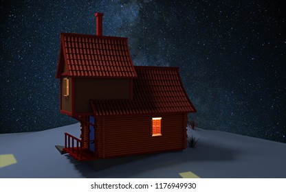 3d computer rendered illustration of a cabin in the snow on a hill with the milkyway in the background
