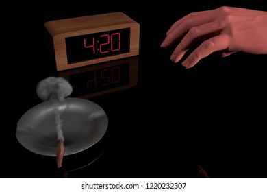 3d computer rendering illustration of a digital clock at 4:20