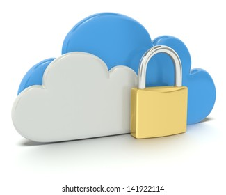 A 3d concept graphic depicting a cloud computing concept. Rendered against a white background with a soft shadow and reflection to enhance the 3D.