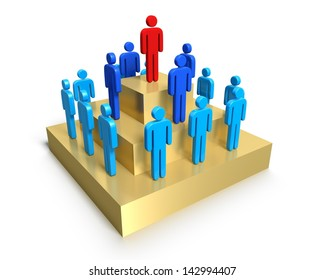 A 3D concept graphic depicting a hierarchy of people. Rendered against a white background with a soft shadow and reflection to enhance the 3D.