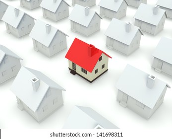 A 3d concept graphic depicting a house standing out from the crowd concept. Rendered against a white background with a soft shadow and reflection to enhance the 3D.