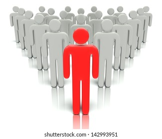 A 3D concept graphic depicting a leader in front of a group of people. Rendered against a white background with a soft shadow and reflection to enhance the 3D.
