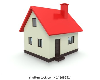 A 3d concept graphic depicting a red house concept. Rendered against a white background with a soft shadow and reflection to enhance the 3D.