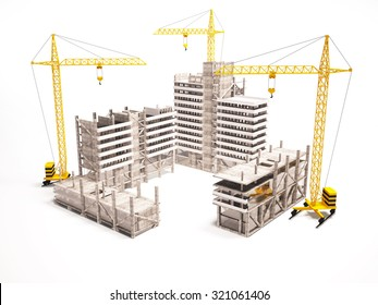 3d concept of high-rise buildings.