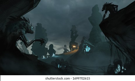 3D concept illustration of space explorers mining for elements oblivious to nearby alien hive - sci-fi fantasy illustration