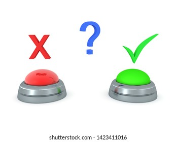3D Concept image of choosing between green button or red button. 3D Rendering isolated on white.