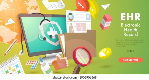 3D Conceptual Illustration of EHR - Electronic Health Record, Electronically-Stored Patient Health Information, Medical History.