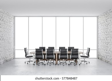 3d conference office with a big window and white brick walls