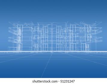 3D construction blue print