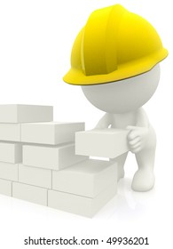 3D construction worker building a brick wall - isolated
