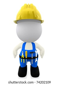 3D construction worker isolated over a white background