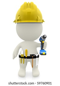 3D construction worker with tools - isolated over a white background