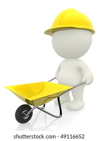 3D construction worker with a wheelbarrow - isolated over a white background