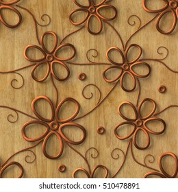 3d , copper flowers on a wooden background, seamless