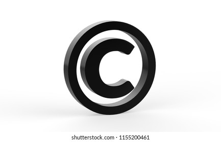 3D copyright symbol on isolated white background, 3d illustration