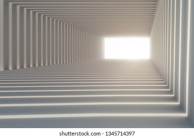 3d corridor or tunnel with glowing light at the end
