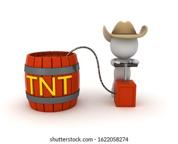 3D Cowboy trying to detonate tnt powder keg. 3D Rendering isolated on white.