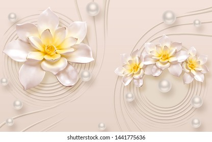 3D CREAM EMBOSSED FLOWER WITH PEARL AND BACKGROUND - ILLUSTRATION