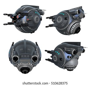 3d Created and Rendered Black Fantasy Drone