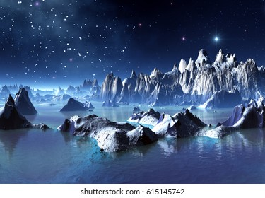 3d Created and Rendered Fantasy Alien Planet Illustration