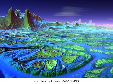 3d Created and Rendered Fantasy Alien Planet - 3D Illustration