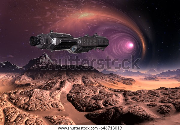 3d Created and Rendered Fantasy Alien Planet with Spaceship - Illustration